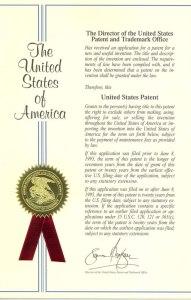 Δίπλωμα ευρεσιτεχνίας απονεμηθέν από την Υπηρεσία Ευρεσιτεχνιών και Εμπορικών Σημάτων των ΗΠΑ στον Σεργκέι Κονοπλόβ